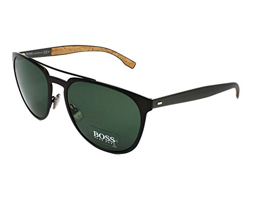 Hugo Boss – BOSS 0882/S, Pilot (tropfenförmig), Metall, Herrenbrillen, MATTE BROWN RUTHENIUM/GREEN(0S3/85), 57/19/145