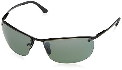 Ray-Ban – RB 3542, Rechteckig, Metall, Herrenbrillen, SHINY BLACK/BLUE SILVER MIRROR POLARIZED(002/5L), 63/15/125