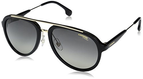 Carrera – CARRERA 132/S, Pilot (tropfenförmig), Acetat/Metall, Herrenbrillen, BLACK LIGHT GOLD/GREY BLUE SHADED(2M2/PR), 57/18/140