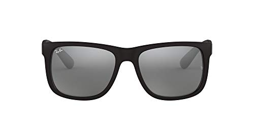 Ray-Ban – JUSTIN RB 4165F ASIAN FIT, Rechteckig, Propionat, Herrenbrillen, BLACK RUBBER/GREY SILVER MIRROR(622/6G), 55/17/140