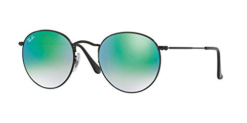 Ray-Ban – ROUND METAL RB 3447, Rund, Metall, Herrenbrillen, SHINY BLACK/CRYSTAL GREY GREEN MIRROR SHADED(002/4J), 53/21/145